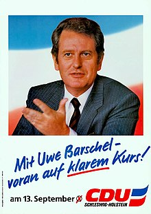 A 1987 political campaign poster featuring Barschel.