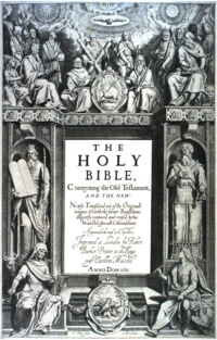 "The title page's central text is: ""THE HOLY BIBLE, Conteyning the Old Testament, AND THE NEW: Newly Translated out of the Originall tongues: & with the former Translations diligently compared and revised, by his Majesties speciall Comandement.Appointed to be read in Churches. Imprinted at London by Robert Barker, Printer to the Kings most Excellent Majestie. ANNO DOM. 1611 ."" At bottom is: ""C. Boel fecit in Richmont.""."