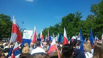 Law and Justice - A KOD demonstration in Warsaw against the ruling Law and Justice party, on 7 May 2016
