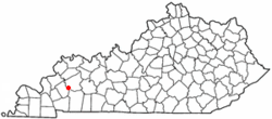 Location of Dawson Springs, Kentucky