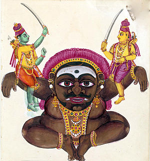 Kabandha - Rama (left) and Lakshamana seated on the arms of Kabandha, about to sever his arms, 19th-century painting from Tiruchchirappalli.