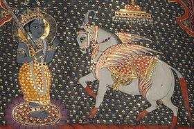 Kalkî et son cheval ailé blanc d'après un manuscrit pendjabi
