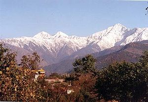Kangra Valley - Dhauladhar range of the Himalayas from Kangra Valley