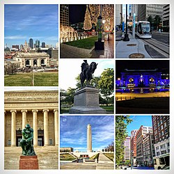 From top left: Downtown Kansas City from Liberty Memorial, Crown Center at Christmas, KC Streetcar, Washington Square Park, Union Station lit blue for the World Series, the Thinker at the Nelson Atkins Museum of Art, Liberty Memorial, and the Library area of Downtown.