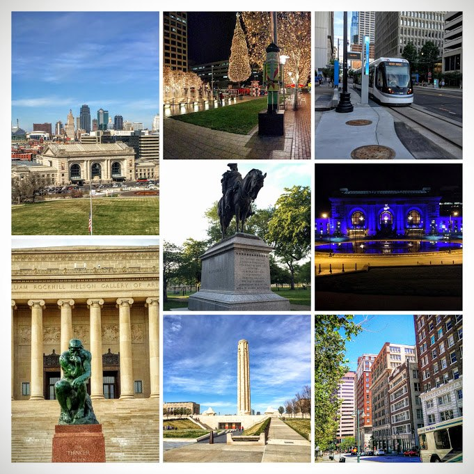 From top left: Downtown Kansas City from Liberty Memorial, Crown Center at Christmas, KC Streetcar, Washington Square Park, Union Station lit blue for the World Series, the Thinker at the Nelson-Atkins Museum of Art, Liberty Memorial, and the Library area of Downtown.
