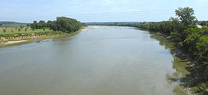 The Kansas River near De Soto, Kansas.