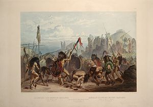 "Buffalo dance - ""Bison-Dance of the Mandan Indians in front of their Medecine Lodge in Mih-Tutta-Hankush"": aquatint by Karl Bodmer from the book Maximilian, Prince of Wied's Travels in the Interior of North America, during the years 1832–1834"
