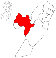 Map highlighting Kearny within Hudson County. Inset: Location of Hudson county highlighted in the State of New Jersey.
