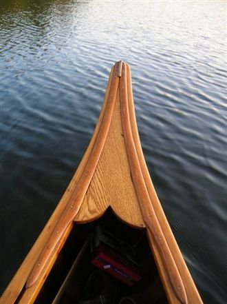 Kennebec Boat and Canoe Company - Deck of Kennebec canoe showing trim on gunwale
