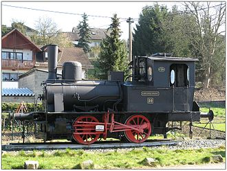 Beselich - Locomotive used as a memorial to the former Kerkerbachbahn (railway), in Heckholzhausen