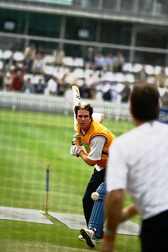Kevin Pietersen - Pietersen warming up in the nets at Lord's in September 2005.