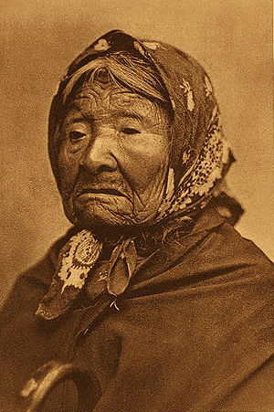 Edward S. Curtis - Princess Angeline (Duwamish) in an 1896 photogravure by Curtis
