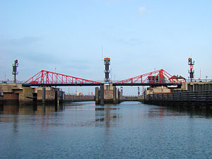 North Sea Canal - Entrance to the South Locks from sea. Being the oldest locks in the complex, they are now the main passage for recreational vessels and smaller inland ships.