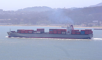 K Line - K-line container ship steaming into San Francisco Bay, June 2007