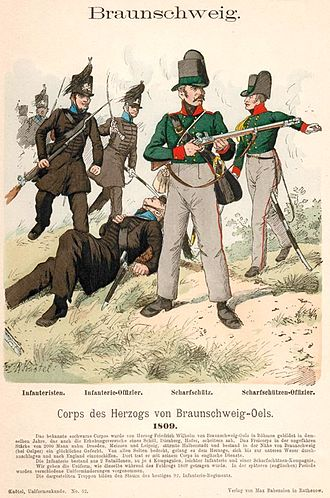 Battle of Halberstadt - An artist's impression of Brunswick line infantry (left) and sharpshooters (right), as they appeared in 1809