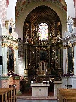 Kościół, ob. par. pw. św. Jana Ewangelisty, 2 poł. XI, XIII-XVI-XVIII wnętrze (8)