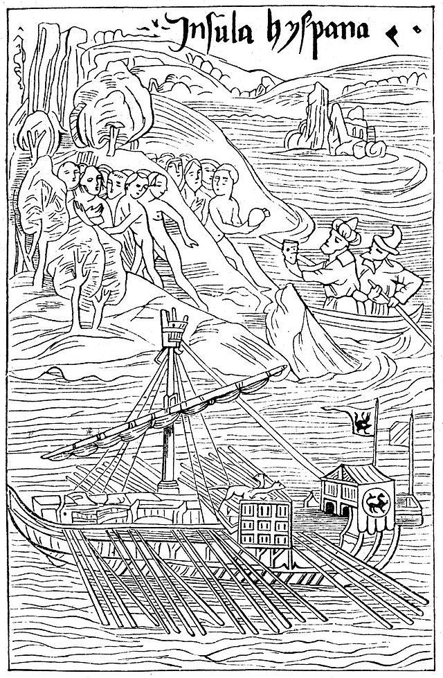 640px Kolumbus landet auf guanahani 1 860x1315 El jamón también descubrió América