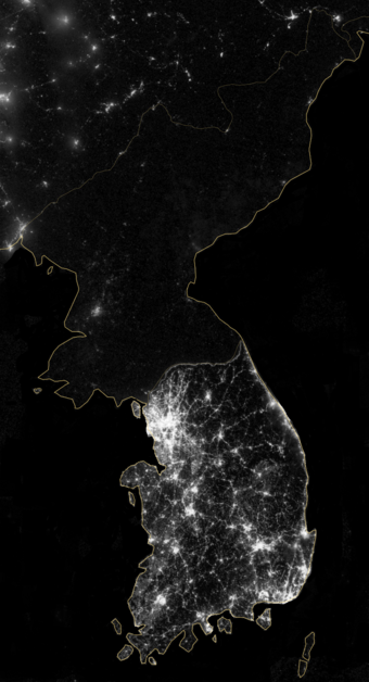 The Korean Peninsula at night, shown in a 2012 composite photograph from NASA Korean Peninsula at night - 2012 - NASA.png