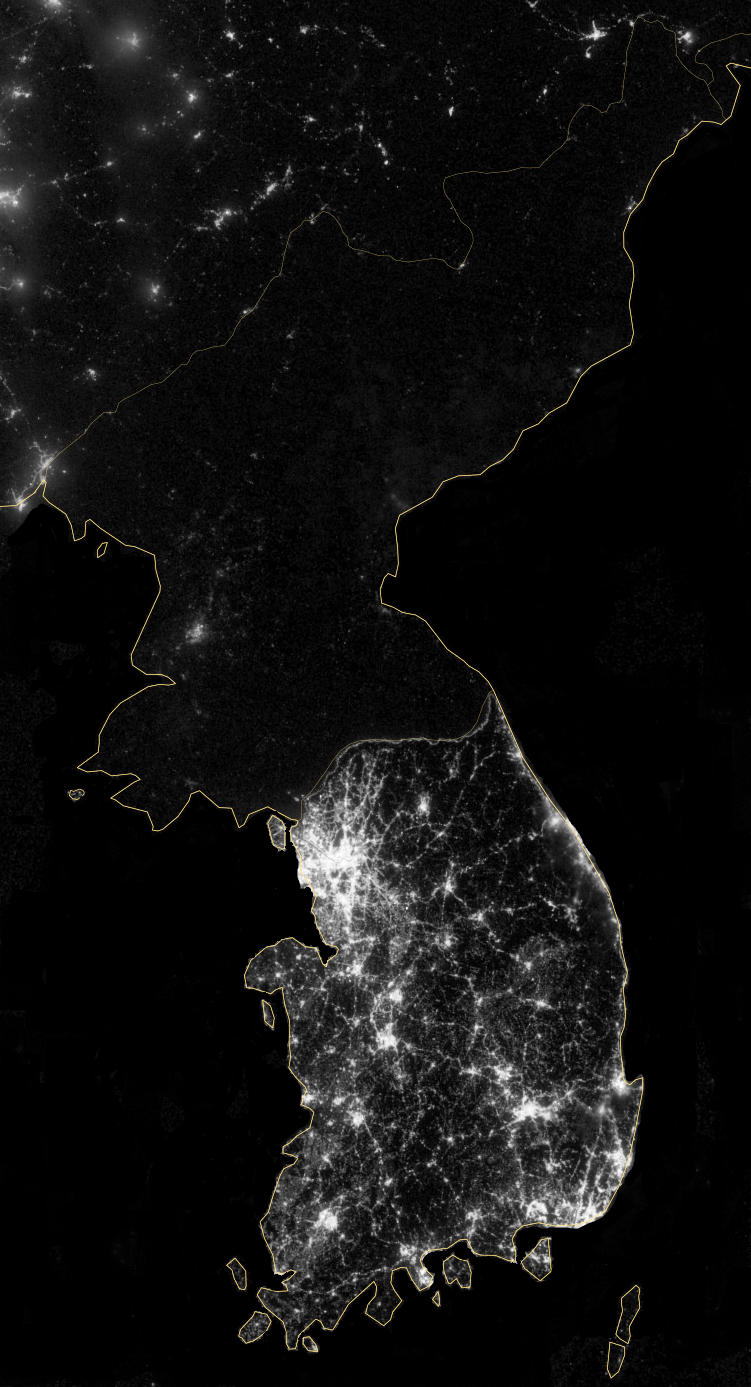 Korean Peninsula at night - 2012 - NASA