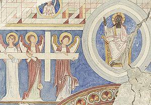 Jacob Kornerup - Kornerup's watercolor of frescos in St Ibs Church, Roskilde (1900)