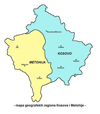 Autonomous Province of Kosovo and Metohija - The regions of Metohija (yellow), and Kosovo in the narrow sense.