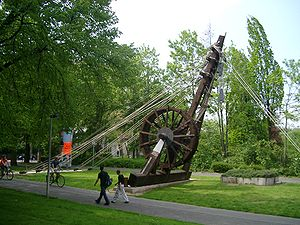 Treadwheel crane - Reconstruction of a Roman treadwheel crane, the Polyspaston, at Bonn, Germany
