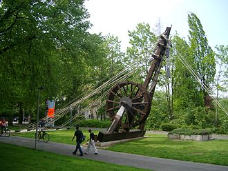 Treadwheel crane - Reconstruction of a Roman treadwheel crane, the Polyspaston, at Bonn, Germany