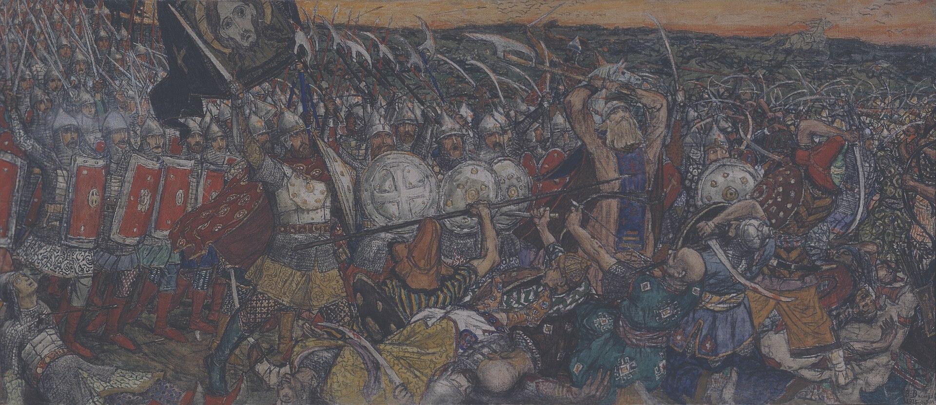 Kulikovo pole by V.Vasnetsov (1915, muzei religii).jpg