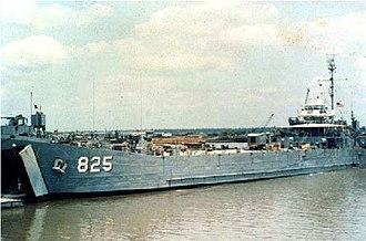 Đồng Tâm Base Camp - USS Hickman County (LST-825) at the ramp at Dong Tam, South Vietnam, circa 1969