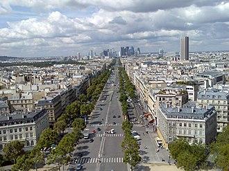 Avenue de la Grande Armée - Avenue de la Grande Armée seen from the Arc de Triomphe, with La Défense in the background.