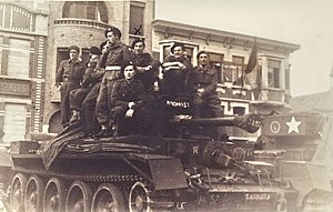 Czechoslovak government-in-exile - Troops from the 1st Czechoslovak Armoured Brigade, part of the British army, photographed in De Panne in 1945