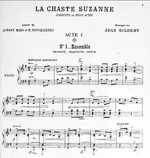 Max Eschig - Die keusche Susanne (La Chaste Susanne de Jean Gilbert, Published in 1912 by Max Eschig.