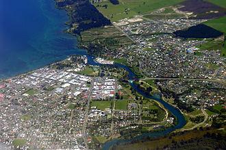 Taupo - Image: Lake Taupo and Waikato River aerial view