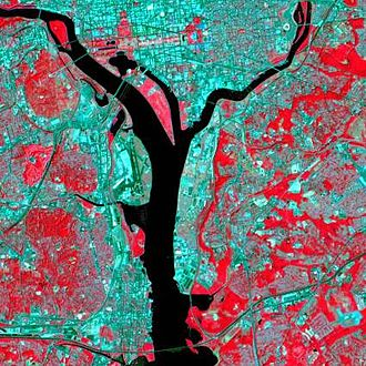 Landsat 7 - False color IR image of Washington DC, taken by Landsat 7.