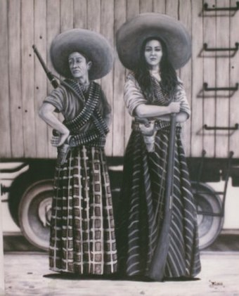 Depiction of soldaderas. Soldaderas were female soldiers who participated in the Revolution. Las adelitas.jpg
