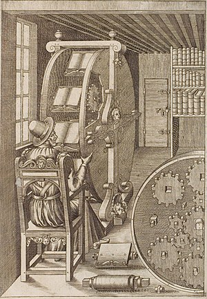 Epicyclic gearing - Bookwheel, from Agostino Ramelli's Le diverse et artifiose machine, 1588