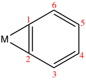 Transition metal benzyne complex - Labeled carbon atoms corresponding to bonds with lengths given in table.