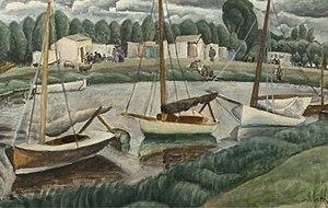 Leo Gestel Sailing boats in a canal.jpg
