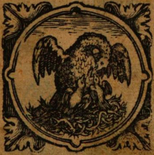Willem Lesteens - Printer's mark of Willem Lesteens from the title page of Metamorphosis (1619)