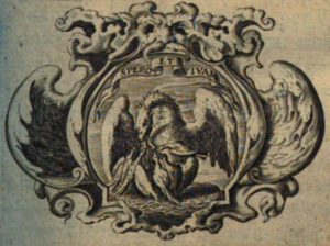 Willem Lesteens - Printer's mark of Willem Lesteens from the title page of Aubert Miraeus, Rerum Belgicarum Chronicon (1636)
