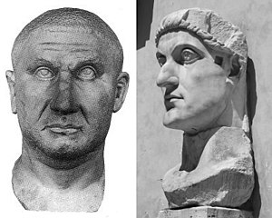 Licinius - Sculptural portraits of Licinius (left) and his rival Constantine I (right).