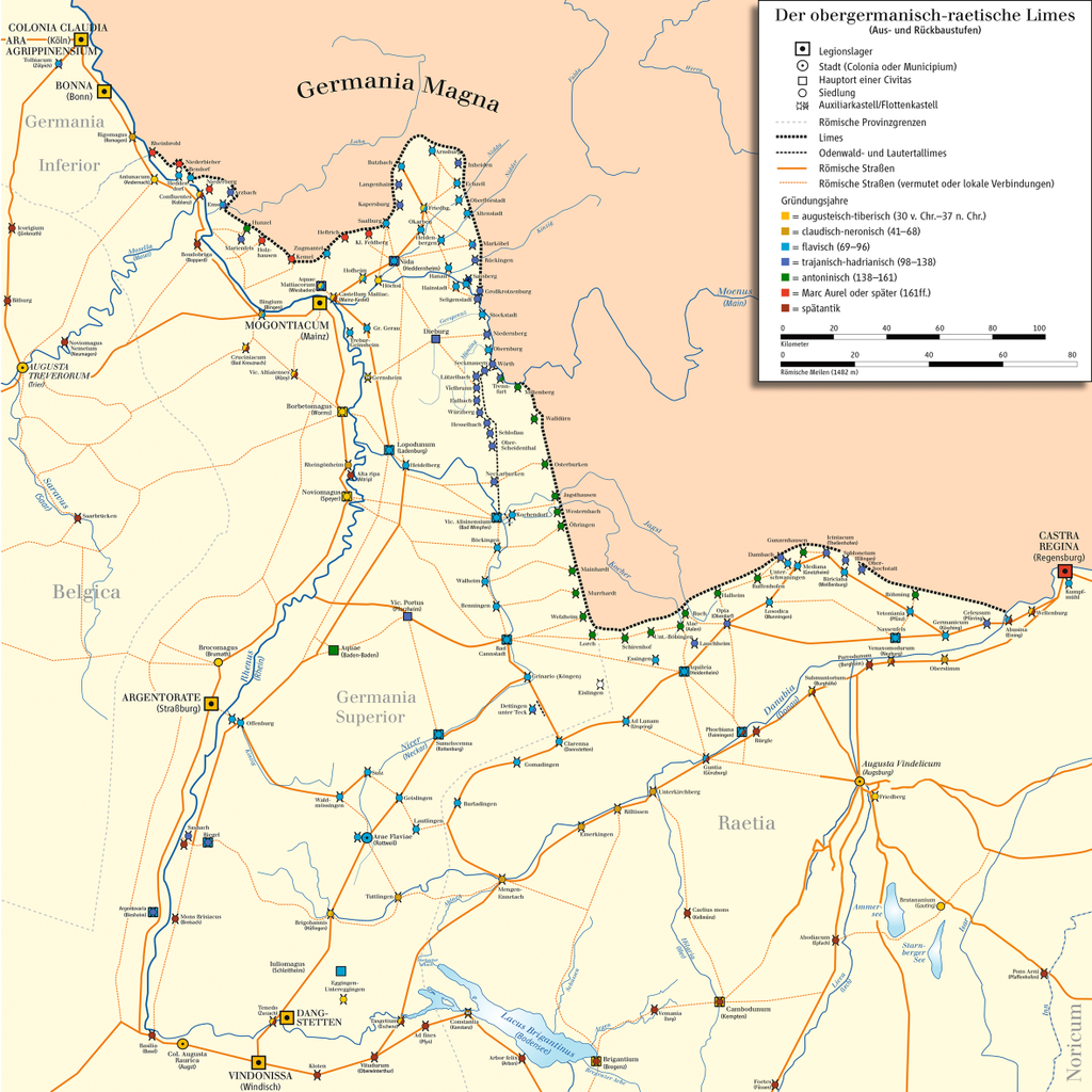 Verlauf Obergermanisch-Raetischer Limes Karte