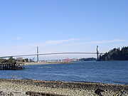 The Lions Gate Bridge viewed from Ambleside Park.