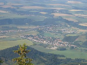 Podtatranská kotlina - Podtatranská kotlina viewed from the Low Tatras. Villages on the picture are Liptovský Ján (centre), Uhorská Ves (left) and Podtureň (right).