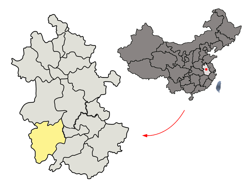 Location of Anqing City jurisdiction in Anhui