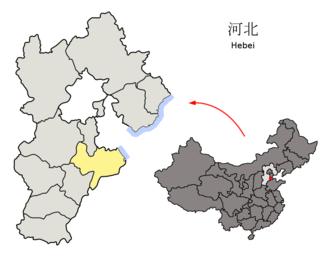 Cangzhou - Image: Location of Cangzhou Prefecture within Hebei (China)