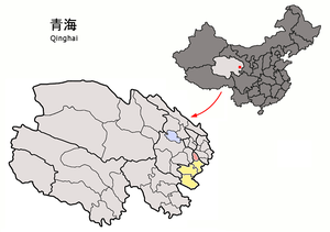 Jainca County - Location of Jianzha (red) in Huangnan (yellow)