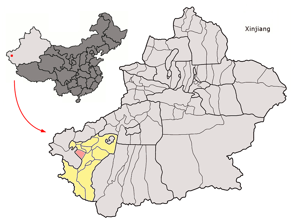 Location of Yengsiar County (red) within Kashgar Prefecture (yellow) and Xinjiang