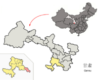 Location of Zhugqu within Gansu (China).png