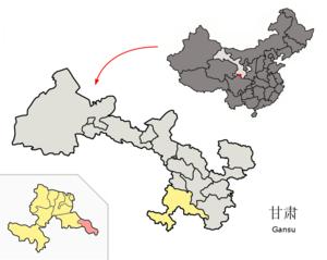 Zhugqu County - Zhugqu (pink) within Gannan Prefecture (yellow) within Gansu Province (grey).